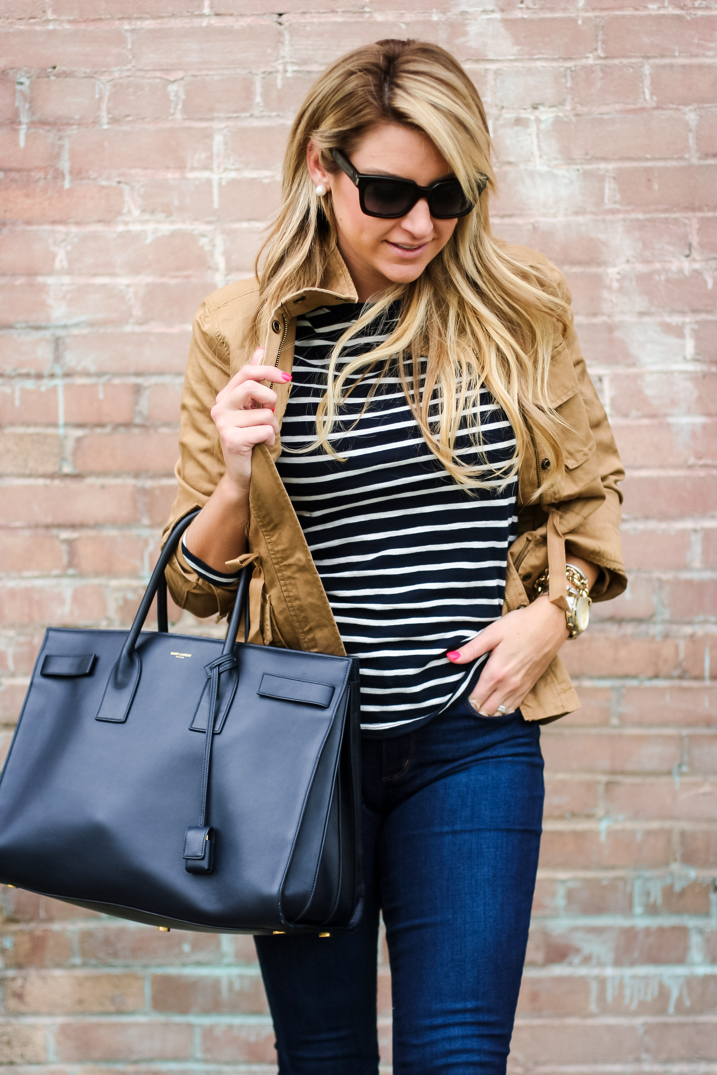 For Women Long Hairstyles And: Stripe Tee And Twill Anorak - SHOP DANDY