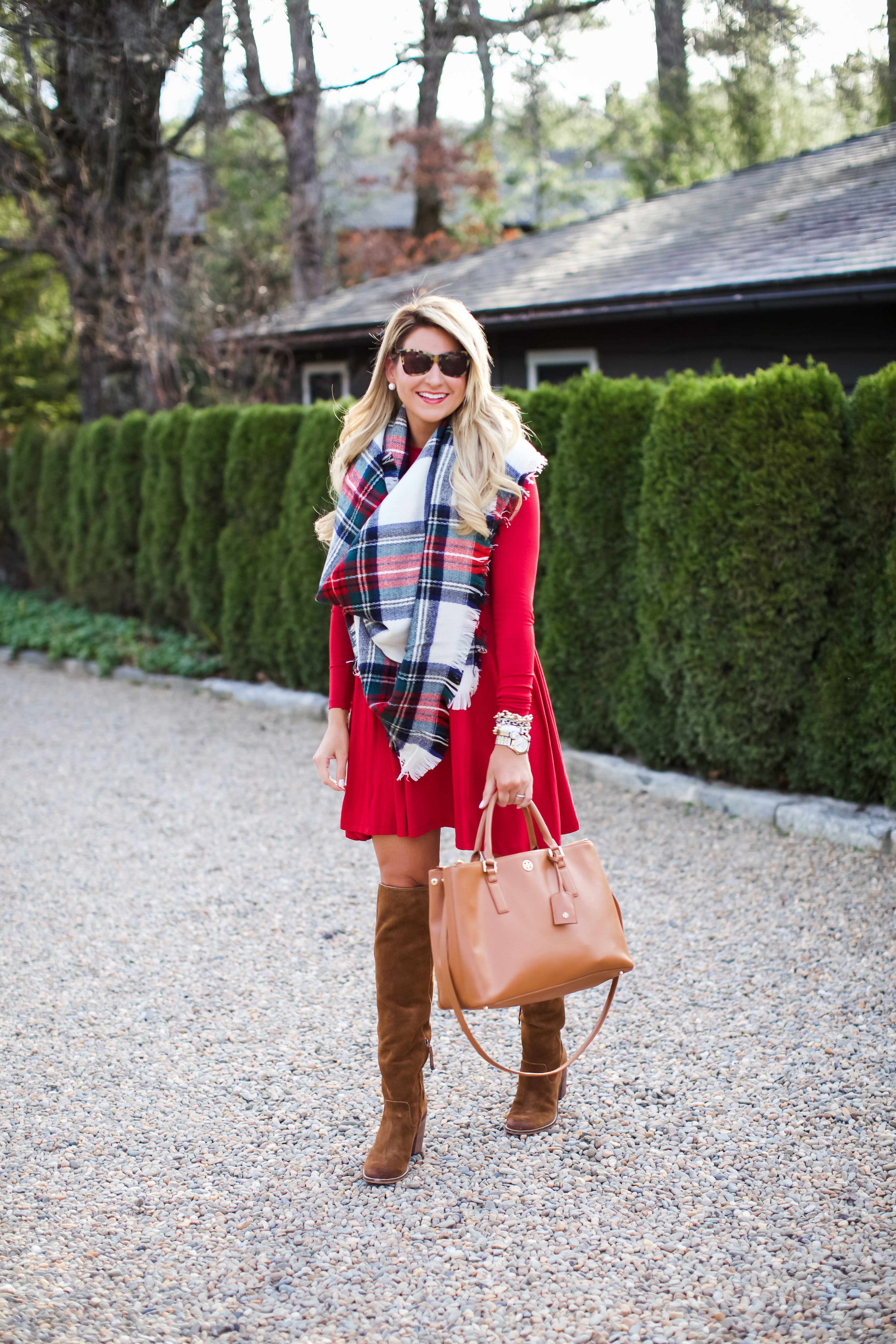 29572dfcd1857 Outfit | Christmas Plaid Scarf - SHOP DANDY | A florida based style and  beauty blog by Danielle